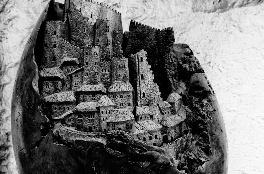 Town carved in wooden egg